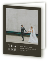 This is a black wedding thank you card by Amy Kross called Stacked date with standard printing on strathmore in standard.