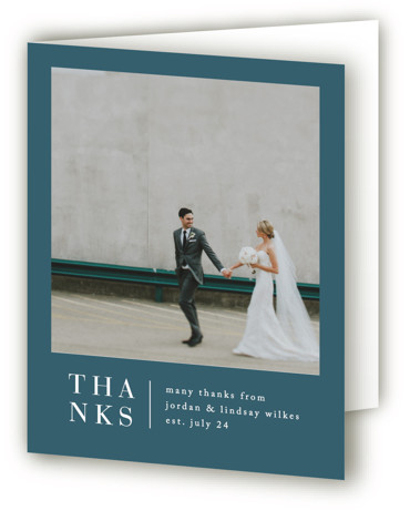 This is a portrait blue Wedding Thank You Cards by Amy Kross called Stacked date with Standard printing on Standard Cover in Card fold over (blank inside) format. This modern design features a bold script and contemporary layout perfect for ...