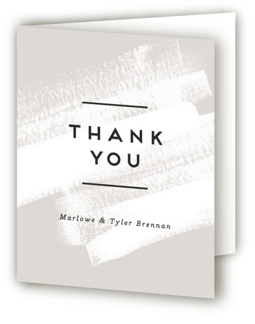 This is a portrait grey Wedding Thank You Cards by Jennifer Wick called Museum quality with Standard printing on Standard Cover in Card fold over (blank inside) format. A simple and modern design with minimal type and a soft dry ...