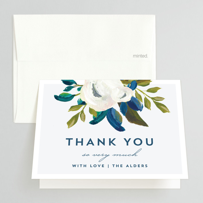"""""""Our Something Blue"""" - Thank You Cards in Ocean by AK Graphics."""