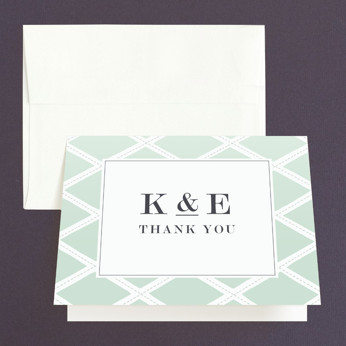 """Bold Lattice"" - Preppy Thank You Cards in Mint by Griffinbell Paper Co.."