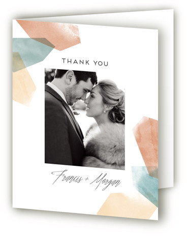 This is a portrait orange, blue Wedding Thank You Cards by Aspacia Kusulas called love is strong with Standard printing on Standard Cover in Card fold over (blank inside) format. Modern illustration of balanced pile of pebbles.