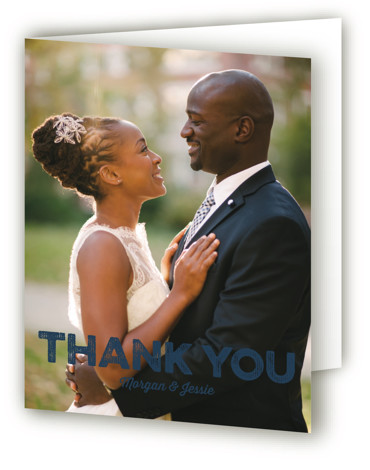 This is a portrait blue Wedding Thank You Cards by Coco and Ellie Design called Mountain View with Standard printing on Standard Cover in Card fold over (blank inside) format. A travel poster inspired wedding invitation perfect for outdoorsy couple. ...