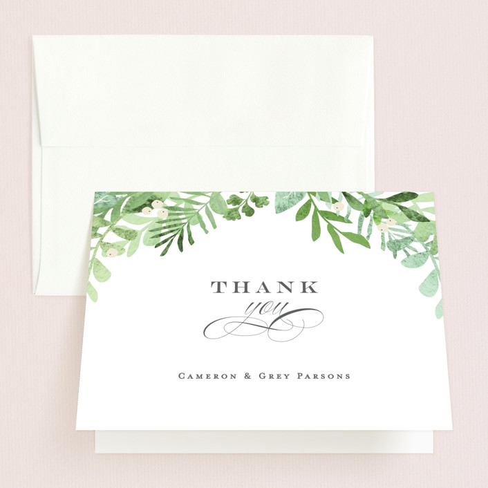 """Leafy ampersand"" - Folded Thank You Card in Mint Leaf by Jennifer Wick."