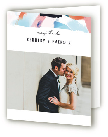 This is a portrait colorful Wedding Thank You Cards by Angela Marzuki called Happy Day with Standard printing on Standard Cover in Card fold over (blank inside) format. Bright, bold, abstract painting creates a backdrop to announce a modern wedding ...
