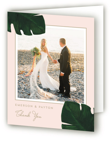 This is a portrait green, pink Wedding Thank You Cards by Kaydi Bishop called Palm with Standard printing on Standard Cover in Card fold over (blank inside) format. A chic hand painted acrylic palm leaf contrasts the invitation wording on ...