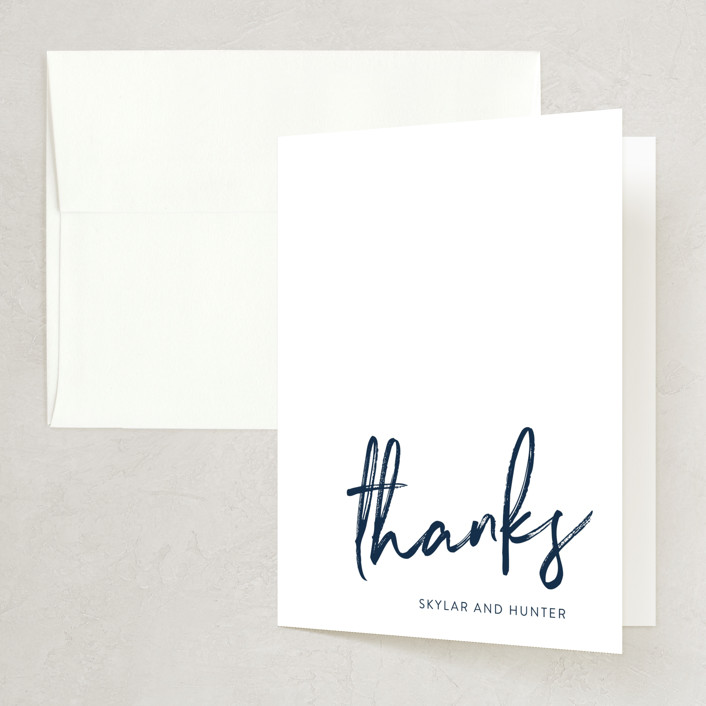 """""""Funky Names"""" - Thank You Cards in Navy by Phrosne Ras."""