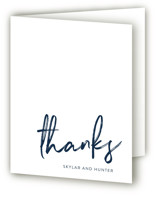 This is a blue wedding thank you card by Phrosne Ras called Funky Names with standard printing on strathmore in standard.