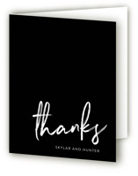 This is a black wedding thank you card by Phrosne Ras called Funky Names with standard printing on strathmore in standard.