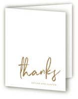 This is a brown wedding thank you card by Phrosne Ras called Funky Names with standard printing on strathmore in standard.