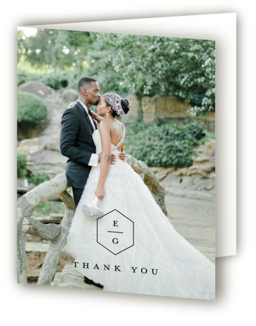 This is a portrait black and white, black Wedding Thank You Cards by Stacey Meacham called Next Adventure with Standard printing on Standard Cover in Card fold over (blank inside) format. A modern wedding invitation with simple polygon stacked monogram ...