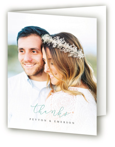This is a portrait green Wedding Thank You Cards by peony papeterie called Simply Perfect with Standard printing on Standard Cover in Card fold over (blank inside) format. This simple wedding invited features a subtle texture in the background.