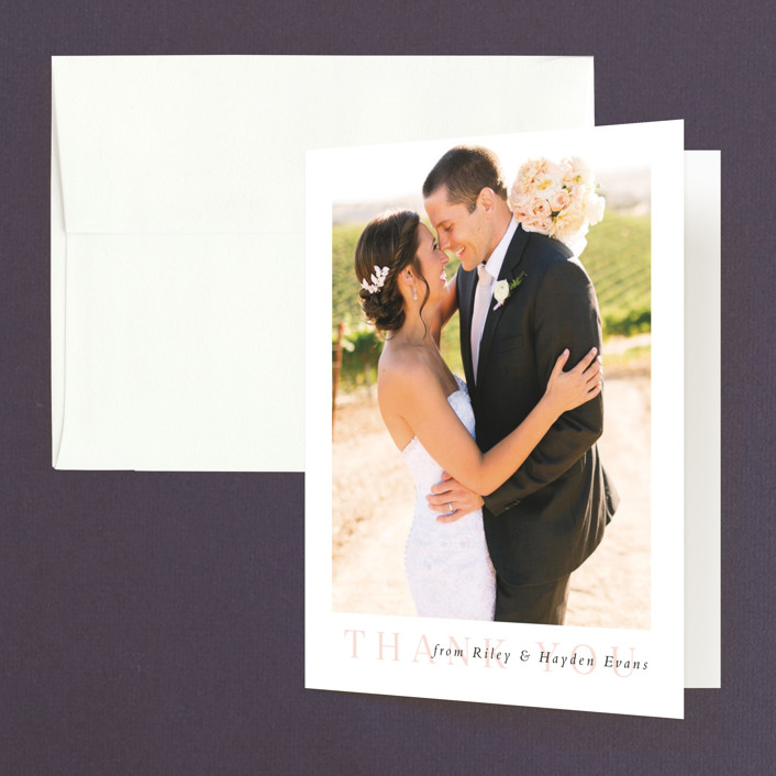 """""""over and over"""" - Thank You Cards in Soft Peach by Lea Delaveris."""