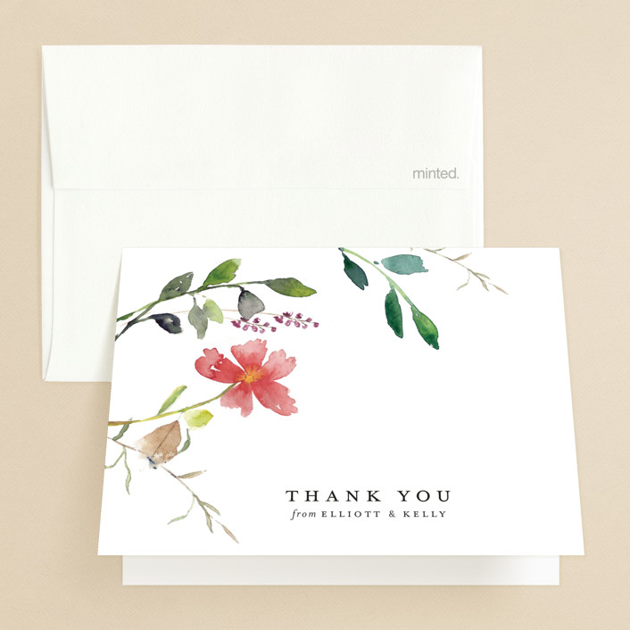 """""""Spring Wildflowers"""" - Folded Thank You Card in Floral by Mere Paper."""