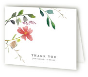 This is a pink wedding thank you card by Mere Paper called Spring Wildflowers with standard printing on strathmore in standard.
