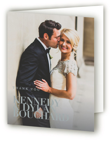 This is a portrait grey Wedding Thank You Cards by Kelly Schmidt called The Minimalist with Standard printing on Standard Cover in Card fold over (blank inside) format. A clean and classic black and white design featuring bold typography for ...