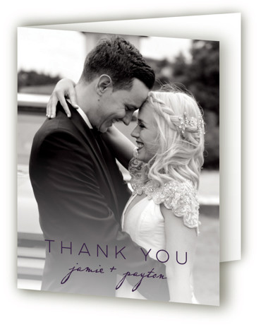 This is a portrait purple Wedding Thank You Cards by Krista Messer called Indigo Lace with Standard printing on Standard Cover in Card fold over (blank inside) format. This lovely wedding invitation is elegant and spirited. It incorporates hand drawn ...