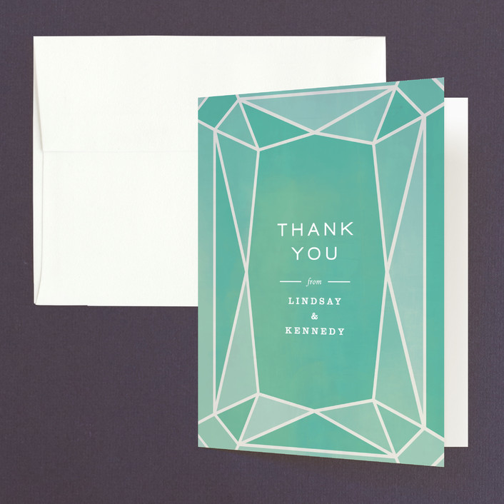 """Radiant Cut"" - Thank You Cards in Aquamarine by Up Up Creative."