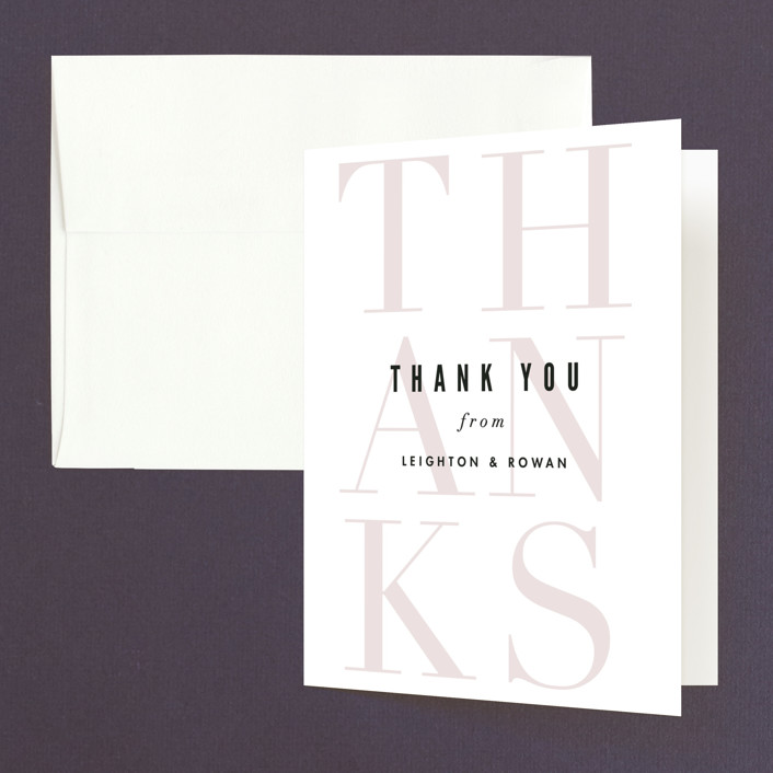 """Initialed"" - Thank You Cards in Blush by Pistols."