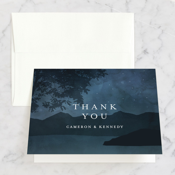 """""""Coastal Nights"""" - Thank You Cards in Midnight by Kelly Schmidt."""