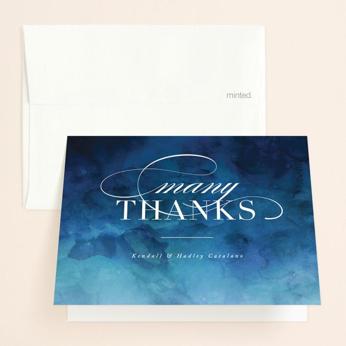 """Indigo Sea"" - Folded Thank You Card in Ocean by Kelly Schmidt."