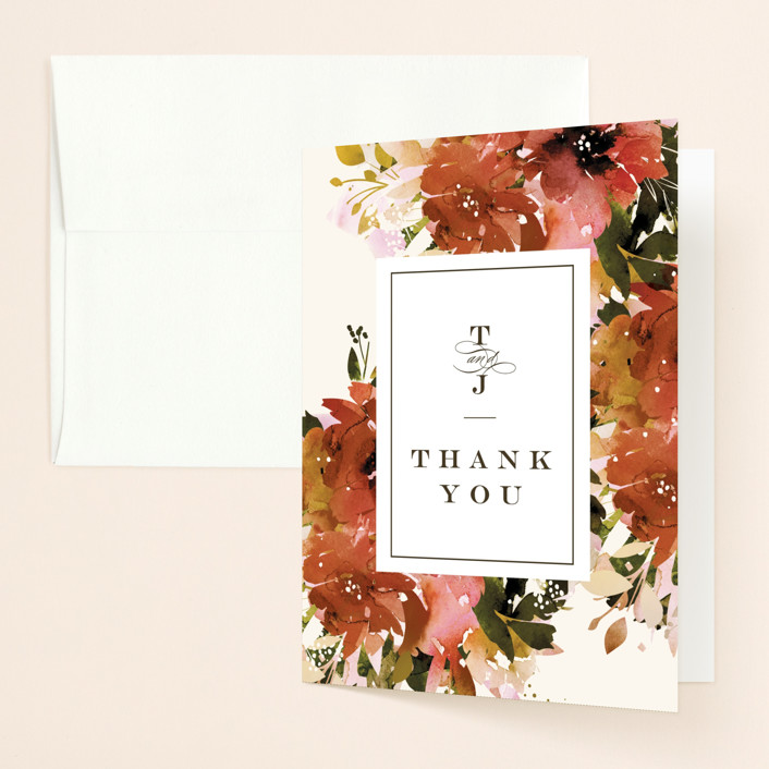 """Eden"" - Thank You Cards in Poinsettia by Lori Wemple."