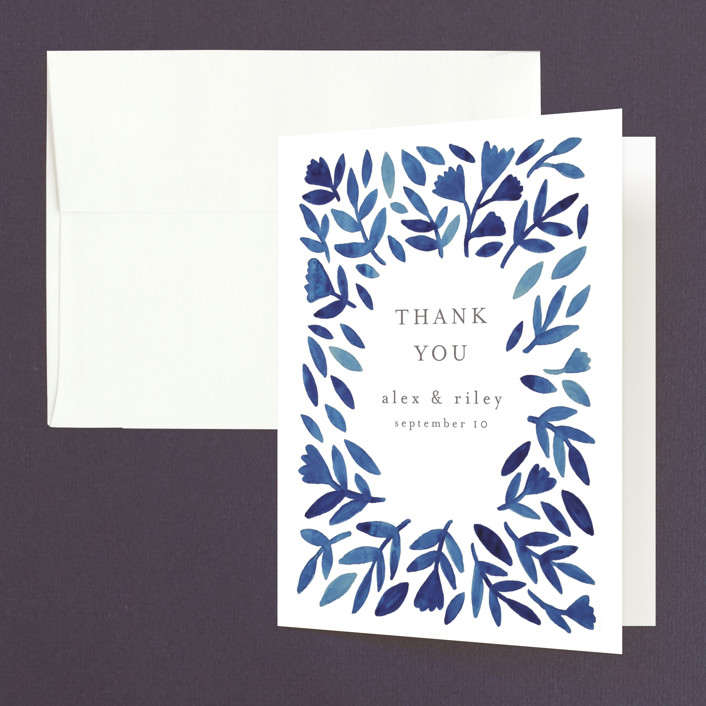 """""""Wildflower Floral"""" - Thank You Cards in Navy by Katharine Watson."""