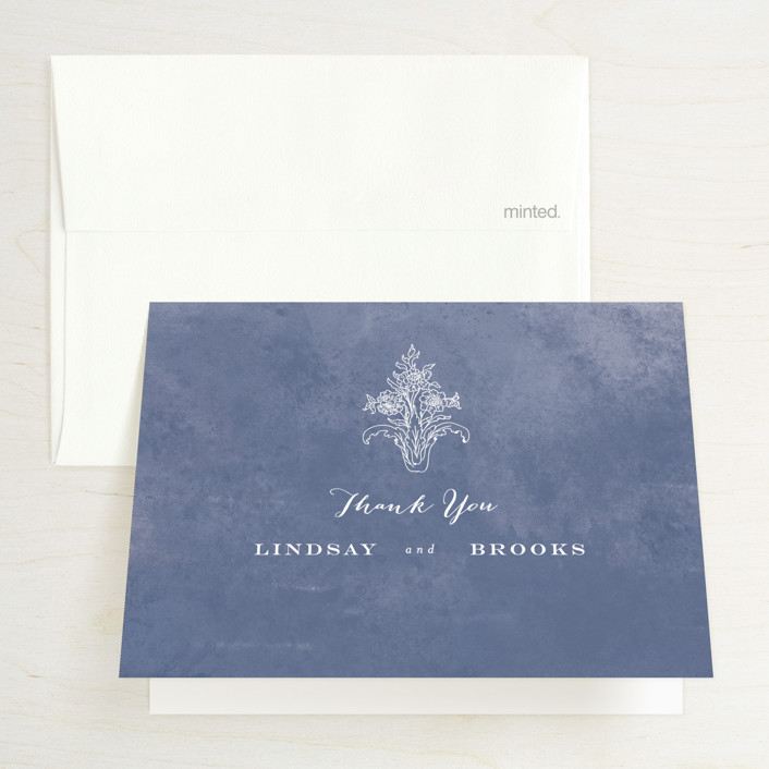 """""""Ornate"""" - Vintage Thank You Cards in Indigo by Nazia Hyder."""
