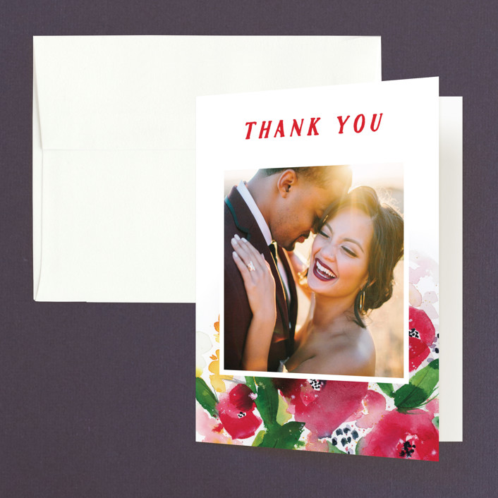 """""""Festive Floral"""" - Thank You Cards in Rose by Lindsay Megahed."""