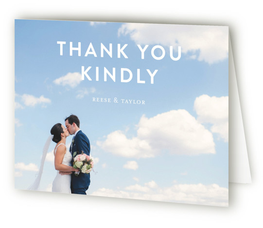 This is a modern, painterly, blue Wedding Thank You Cards by Lisa Guerrero called Modern Brush with Standard printing on Standard Cover in Card fold over (blank inside) format. Bold and graphic invitation featuring hand brushed ink artwork.