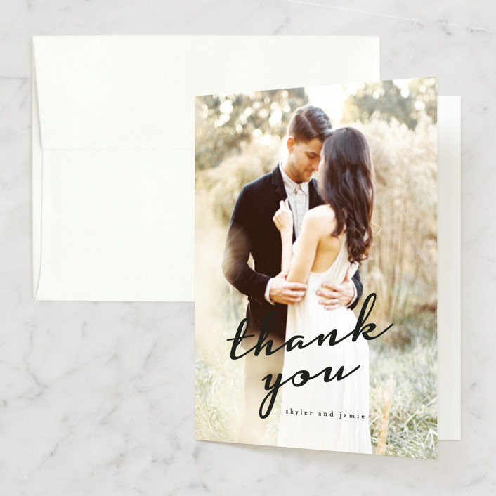 """""""Dressed in White"""" - Thank You Cards in Cloud by Angela Garrick."""