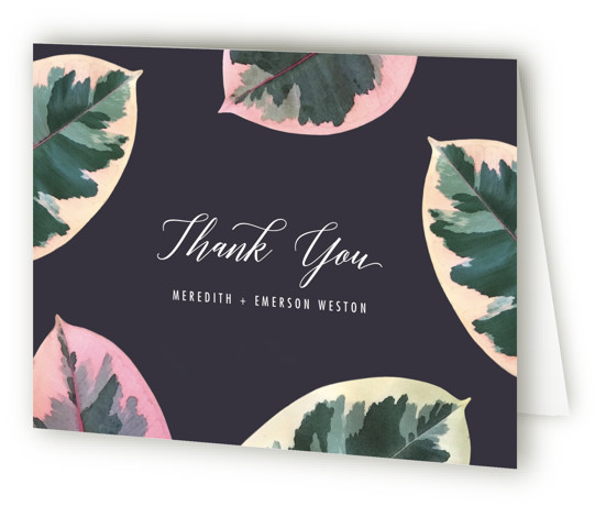 This is a botanical, purple, green, colorful Wedding Thank You Cards by Hooray Creative called Painterly Plant with Standard printing on Standard Cover in Card fold over (blank inside) format. A bold, botanical design inspired by the photos I captured ...