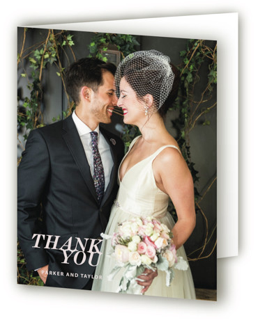 This is a bold and typographic, simple and minimalist, pink, grey Wedding Thank You Cards by Drango Design called Slanted with Standard printing on Standard Cover in Card fold over (blank inside) format. This sophisticated and modern design updates the ...
