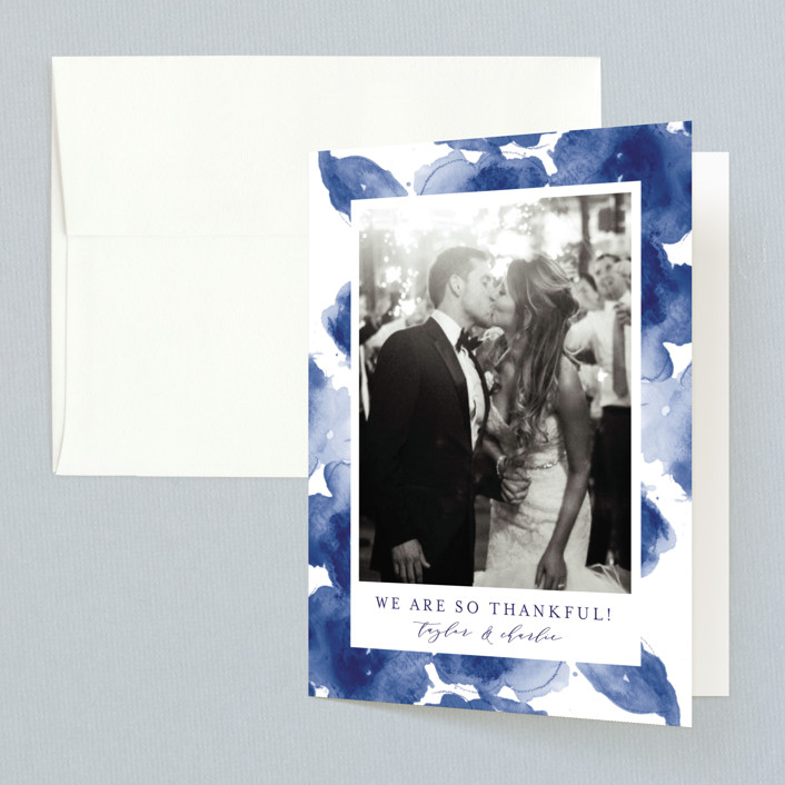 """Cornflower Wedding"" - Folded Thank You Card in Periwinkle by Chris Griffith."