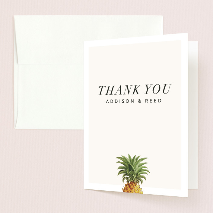 """Party in Paradise"" - Folded Thank You Card in Pineapple by Fig and Cotton."