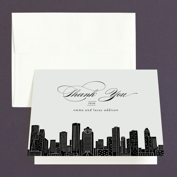 """""""Big City - Houston"""" - Thank You Cards in Light Taupe by Hooray Creative."""