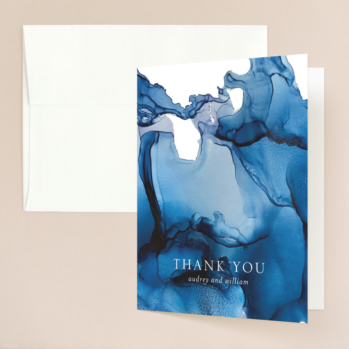 """blue tides"" - Thank You Cards in Sea Blue by Erin Deegan."