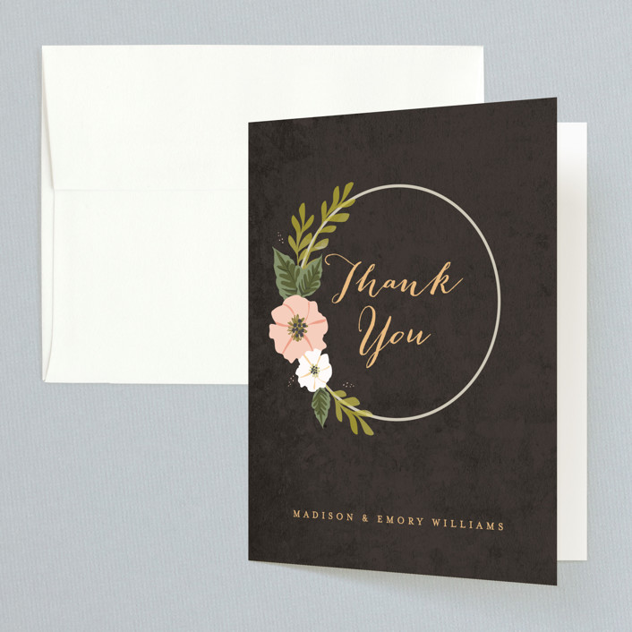 """""""Floral Ring"""" - Thank You Cards in Charcoal by Karidy Walker."""