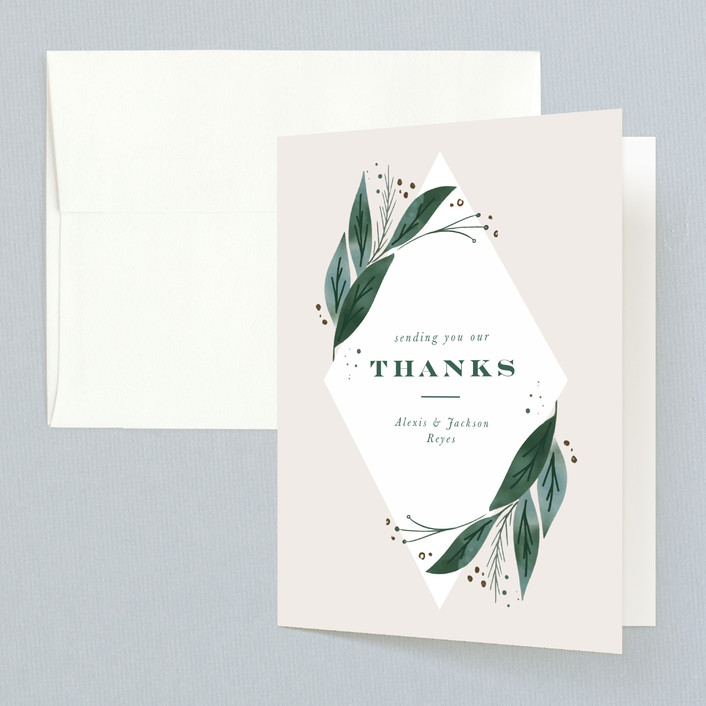 """Eternity"" - Thank You Cards in Sage by Leah Bisch."