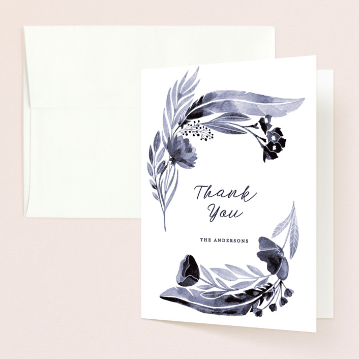 """""""feathers & florals"""" - Bohemian Thank You Cards in Dusk by Olivia Raufman."""