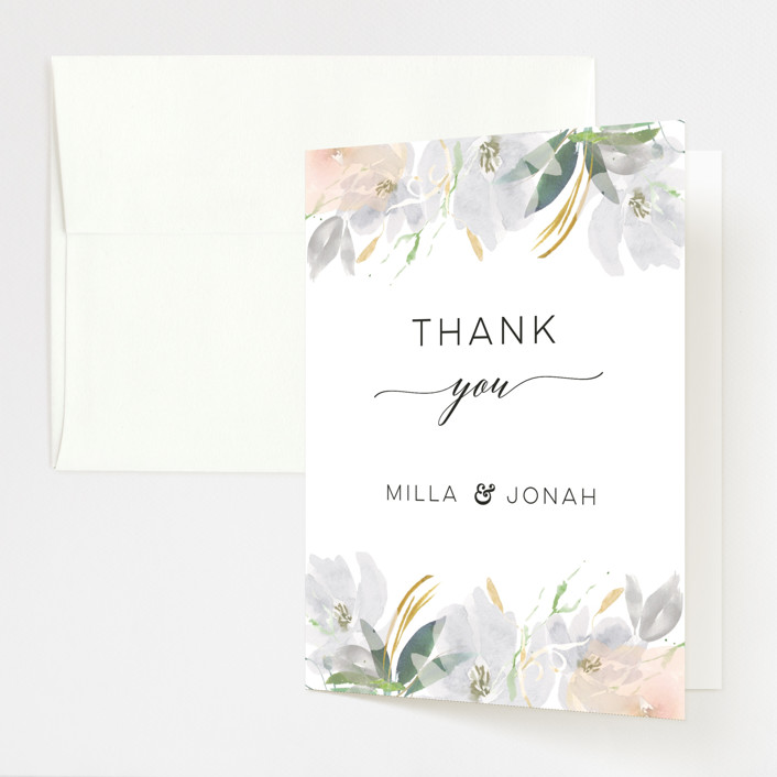 """Grande Botanique"" - Folded Thank You Card in Mist by Bonjour Paper."