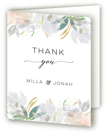 This is a botanical, painterly, grey, colorful Wedding Thank You Cards by Bonjour Paper called Grande Botanique with Standard printing on Standard Cover in Card fold over (blank inside) format. A wedding invitation featuring a whimsical watercolor frame