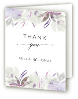 This is a purple wedding thank you card by Bonjour Paper called Grande Botanique with standard printing on strathmore in standard.