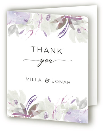 This is a botanical, painterly, purple Wedding Thank You Cards by Bonjour Paper called Grande Botanique with Standard printing on Standard Cover in Card fold over (blank inside) format. A wedding invitation featuring a whimsical watercolor frame
