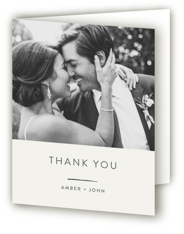 This is a modern, grey, pink Wedding Thank You Cards by Seven Swans called Pattern Play with Standard printing on Standard Cover in Card fold over (blank inside) format. A striking, graphic invitation feuturing sketched lines and geometric shapes