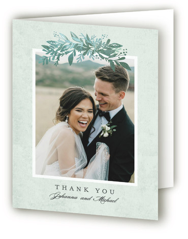 This is a botanical, green, rosegold Wedding Thank You Cards by Karidy Walker called Tailored Branches with Standard printing on Standard Cover in Card fold over (blank inside) format. This wedding invitation features a dark background with watercolor leaves and ...