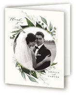 This is a white wedding thank you card by Susan Moyal called Natures Greens with standard printing on strathmore in standard.