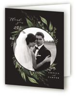 This is a black wedding thank you card by Susan Moyal called Natures Greens with standard printing on strathmore in standard.