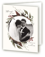 This is a brown wedding thank you card by Susan Moyal called Natures Greens with standard printing on strathmore in standard.