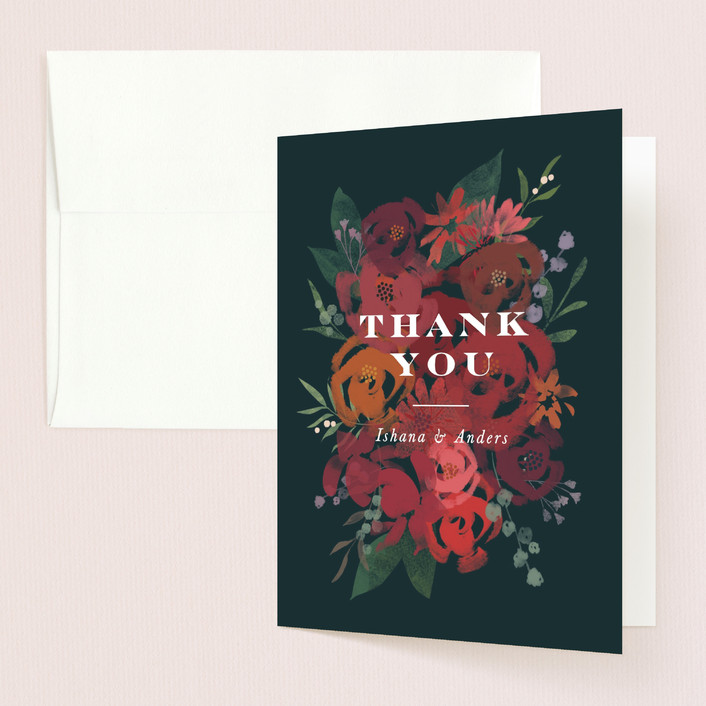 """Midnight Garden"" - Thank You Cards in Deep Sea by Jennifer Wick."